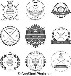 vecteur, set., étiquettes, golf, icônes