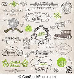 vecteur, set:, calligraphic, éléments conception, et, page, décoration, vendange, cadre, collection, à, fleurs