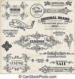 vecteur, set:, calligraphic, éléments conception, et, page, décoration, vendange, cadre, collection