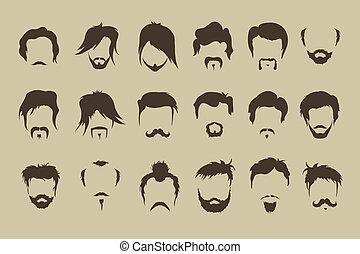 vecteur, set., cheveux, moustache, barbe