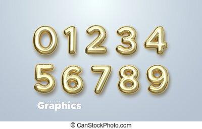 vecteur, set., illustration., nombres, 3d, doré