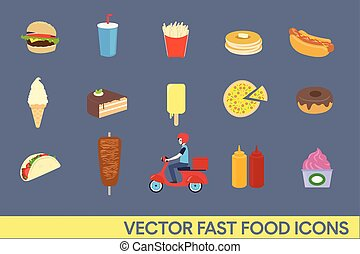 vecteur, set., nourriture, icône, jeûne, illustration.