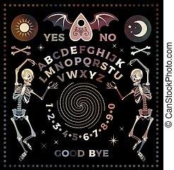 vecteur, set., planche, skeletons., illustration., ouija, ...