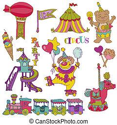 vecteur, set:, vendange, cirque, éléments, -, main, dessiné,...