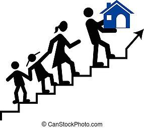 vecteur, sien, concept, famille, gardien, portée, ou, leur, porter, home., rêve, homme