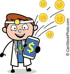 vecteur, sien, docteur, bonification, projection, montant, concept, dessin animé, heureux