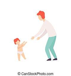vecteur, sien, parent, prendre, premier, ensemble, avoir, bon, étapes, illustration, temps, bébé, gosse, enfantqui commence à marcher, père