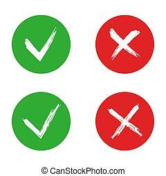 vecteur, signe, croix, illustration, tique, arrière-plan., blanc, isolé