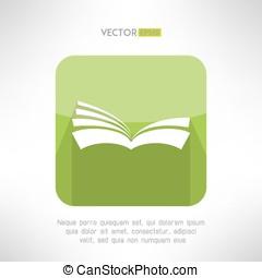vecteur, signe., ebook, cahier, livre, vert, apprentissage, lecteur, icon., concept.