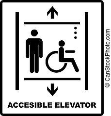 vecteur, signe, icône, handicapé, illustration, ascenseur