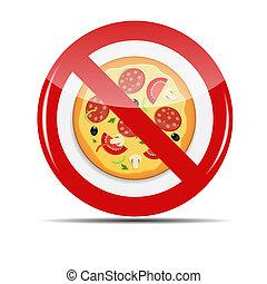 vecteur, signe, non, illustration, pizza