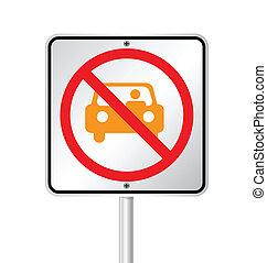 vecteur, signe, non, illustration, stationnement