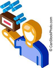 vecteur, signe, tenue, isométrique, bidder, illustration, icône