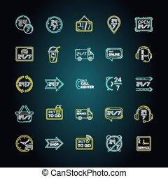vecteur, signes, couleur, shipping., 24, extérieur, semaine, 7, lumière néon, fonctionnement, autour de, commodité, heure, store., incandescent, rgb, effect., tout, disponible, illustrations, service, horloge, icônes, isolé, heures, set.