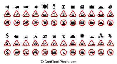 vecteur, signs., ensemble, prohibition, illustration
