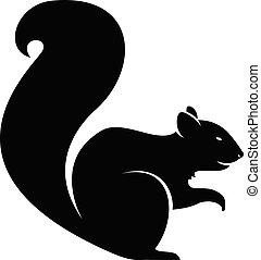 vecteur, silhouette, écureuil