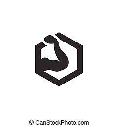 vecteur, silhouette, bras, musculaire, hexagone