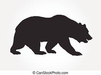 vecteur, silhouette, brun, grizzly