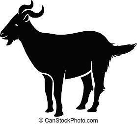 vecteur, silhouette, chèvre