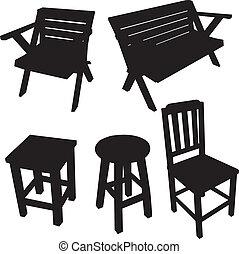vecteur, silhouette, chaise