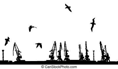 vecteur, silhouette, chantier naval