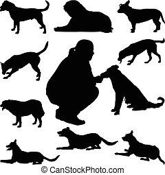 vecteur, silhouette, chien
