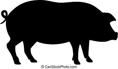 vecteur, silhouette, cochon, icône