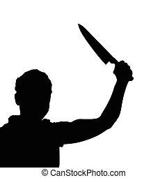 vecteur, silhouette, couteau, homme