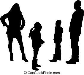 vecteur, silhouette, de, family.