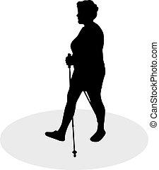 vecteur, silhouette, de, femmes, à, nordique, marche.