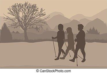 vecteur, silhouette, de, gens, à, nordique, marche.