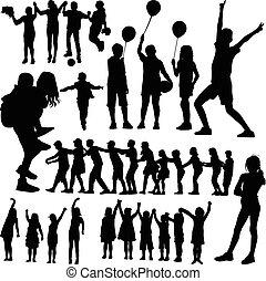 vecteur, silhouette, enfants