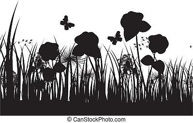vecteur, silhouette, fond, herbe