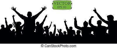 vecteur, silhouette, foule, audience