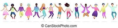 vecteur, silhouette, illustration., gens, ensemble, sauter, tenant mains