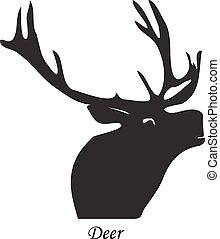 vecteur, silhouette, isolé, illustration, deer., arrière-plan noir