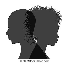 vecteur, silhouette, isolated., américain, profil, couple, africaine