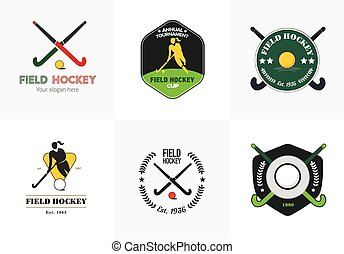 vecteur, silhouette, logo, crosse, hockey, sport, insignes, ball., champ, set., femme