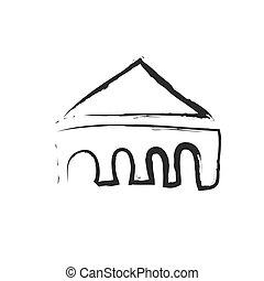 vecteur, silhouette, maison, toit, logo, bizarre