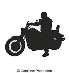 vecteur, silhouette, moto, couperet