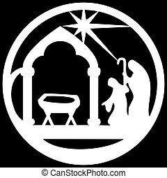 vecteur, silhouette, noir, saint, adoration, icône, blanc, ...