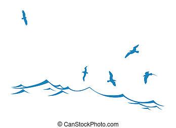 vecteur, silhouette, oiseaux, mer, vague