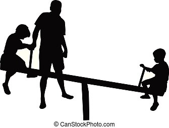 vecteur, silhouette, père, parc, fils, jouer