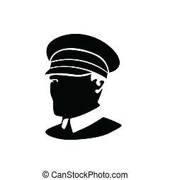 vecteur, silhouette, policier