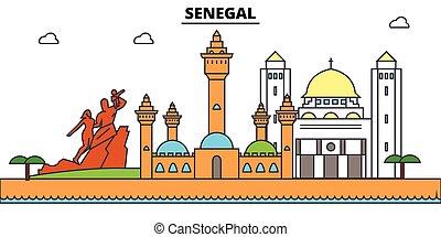 vecteur, silhouette, sénégal, repère, bâtiments, illustration, ville, voyage, linéaire, horizon, contour, bannière
