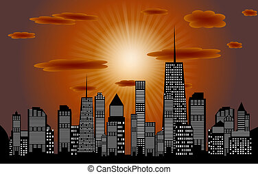 vecteur, silhouette, sunset., villes, eps, 10., illustration
