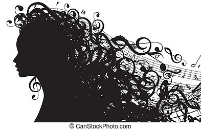 vecteur, silhouette, tête, symboles, femme, musical