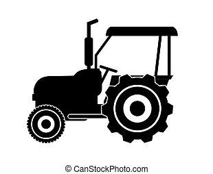 vecteur, silhouette, tracteur