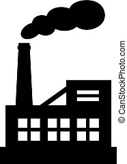 vecteur, silhouette, usine, icône