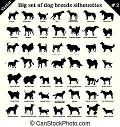 vecteur, silhouettes, 2, chiens